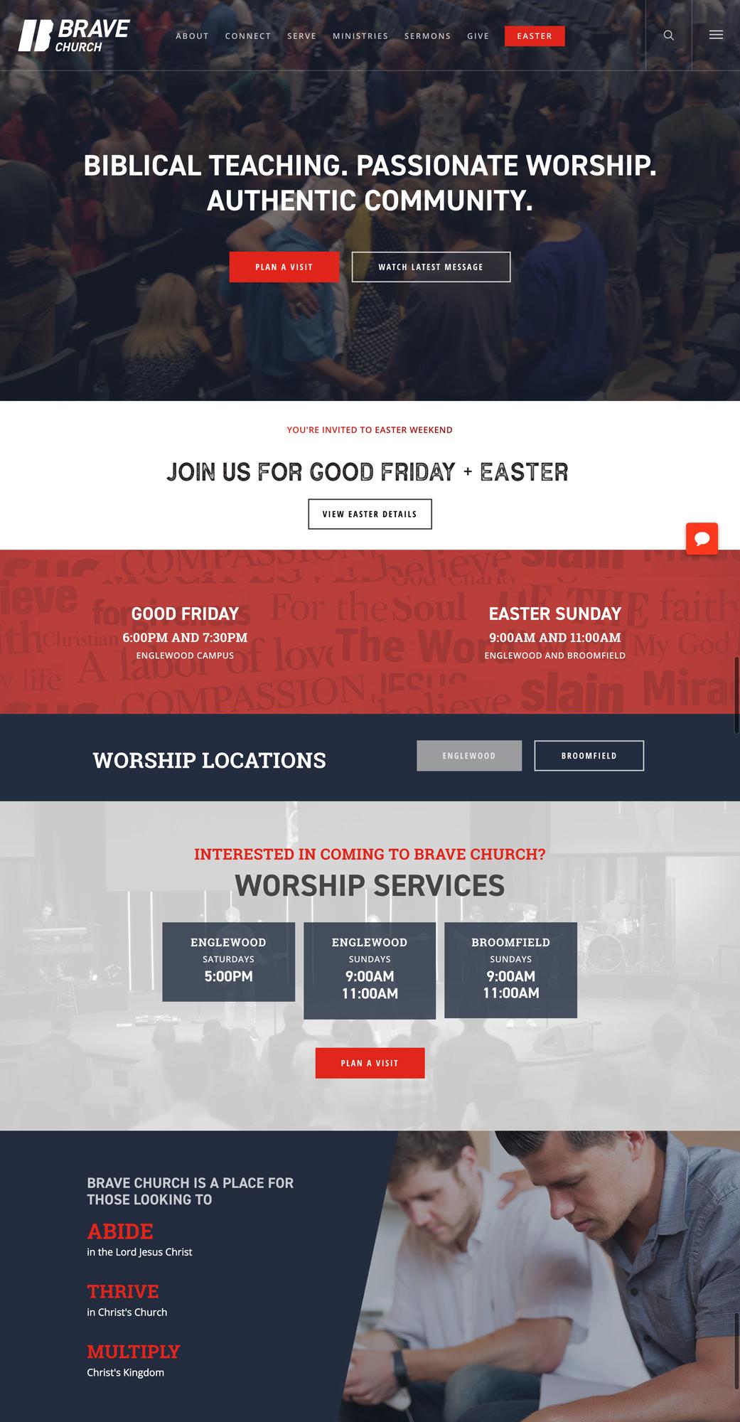 BRAVE Church homepage design